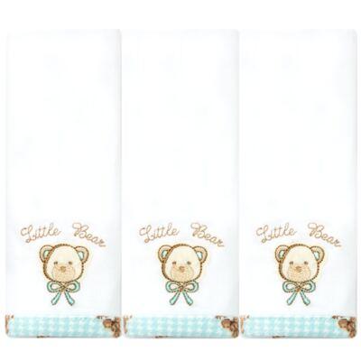 Imagem 1 do produto Kit com 3 fraldinhas de boca em malha Teddy Sam - Classic for Baby