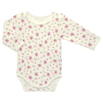 Imagem 2 do produto Kit 2 Bodies longos para bebe em suedine Marfim Florale - Grow Up - 09100097.0004 KIT BODIES FLOWERS ML CREME-P