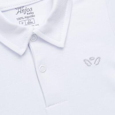Imagem 2 do produto Body polo curto para bebe em suedine Branco - Anjos Baby - AB1010.001 Body Polo masc. suedine Branco -M