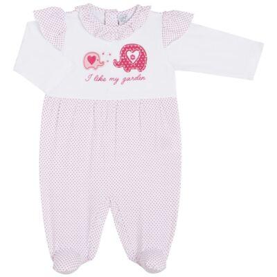 Imagem 1 do produto Macacão longo para bebe em viscolycra Little Cute - Vicky Lipe - 21241362 MACACAO ML BABADOS DOURADO ELEFANTINHO -RN