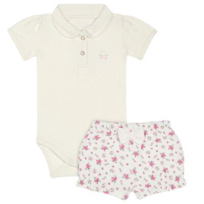 Imagem 1 do produto Body Polo com Shorts para bebe em suedine Florale - Grow Up - 04080008.0004 CONJUNTO FLOWERY CREME-M