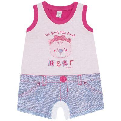 Imagem 1 do produto Macacão regata para bebe em malha Grizzy Bear - Vicky Lipe - 882572 MACAQUINHO REGATA MALHA URSA-G