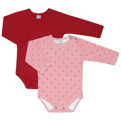 Imagem 1 do produto Kit 2 Bodies longos para bebe Red Anchor - Vicky Lipe - LTPBML07 PACK 2 BODIES ML LISTRA ÂNCORA/VERMELHO-M