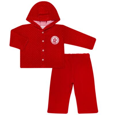 Imagem 1 do produto Casaco c/ capuz e Calça para bebe em plush Ruby - Mini & Kids - CCPZ1051.215 CONJ. BLUSÃO CAPUZ E CALÇA PLUSH VERMELHO-M