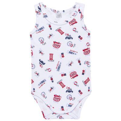 Imagem 1 do produto Body regata para bebe em suedine British - Vicky Lipe - 01090001.35 BODY REGATA - SUEDINE-P