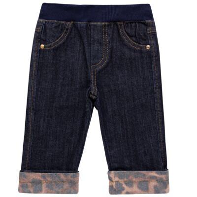 Imagem 1 do produto Calça para bebe jeans c/ cós em ribana e barra dobrável - Grow Up - 03060163.0058 CALCA DENIM FEM FORRADA JEANS-1