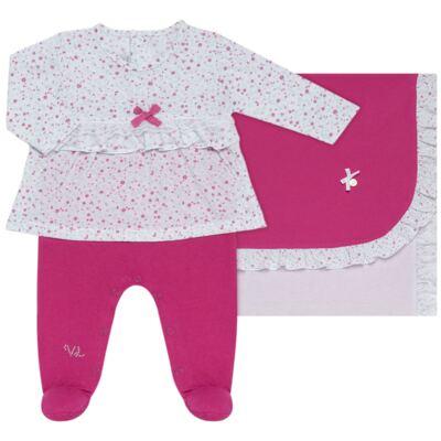 Imagem 1 do produto Jogo Maternidade para bebe com Macacão e Manta em malha Little Cute - Vicky Lipe - 21381362 JG MATERNIDADE MACA-VESTIDO MALHA ELEFANTINHO-RN
