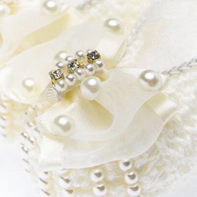 Imagem 2 do produto Sapatinho em tricot Laço Strass & Pérolas Marfim - Roana