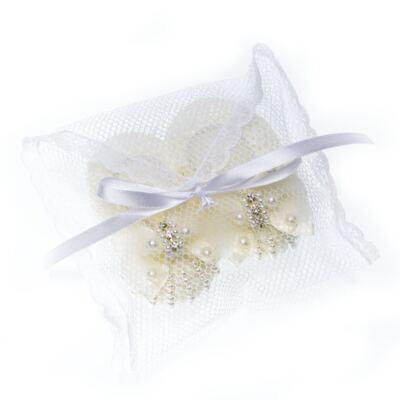 Imagem 4 do produto Sapatinho em tricot Laço Strass & Pérolas Marfim - Roana