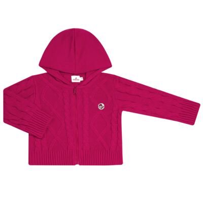 Imagem 1 do produto Casaco com capuz em tricot trançado Pink - Missfloor - 76TT0001.376 SWEATER COM TRANÇAS - TRICOT-2