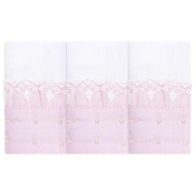 Imagem 1 do produto Kit com 3 paninhos de boca para bebe em fralda Matelassê Rosa - Roana