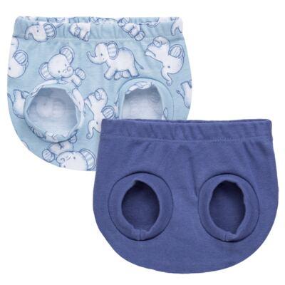 Imagem 1 do produto Pack Elefantinho: 02 Cobre Fraldas para bebe em high comfort - Vicky Baby - 1022-713 ELEF AZUL PK 2 COBRE BEBE SUED HIGH -PP