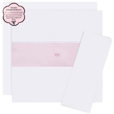Imagem 1 do produto Jogo de lençol para berço em malha Coroinha Rosa - Classic for Baby