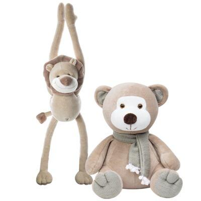 Imagem 1 do produto Kit Bichinhos: Leão Esticadinho & Ursinho Chocalho em plush - Anjos Baby