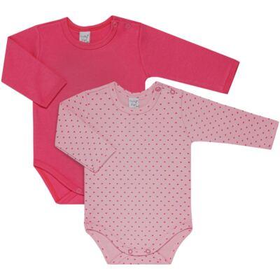 Imagem 1 do produto Kit 2 Bodies longos para bebe Pink Little Hearts - Vicky Lipe - LTPBML02 PACK 2 BODIES ML CORAÇÃO ROSA BB/PINK-M