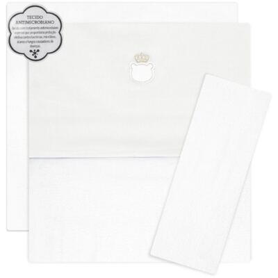 Imagem 1 do produto Jogo de lençol para berço em malha Royalty Bear Branco  - Classic for Baby