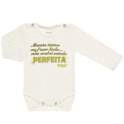 Imagem 1 do produto Body longo para bebe em suedine Perfeita - Primeiras Palavras - PP1511 PERFEITA CRU ML-M