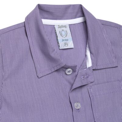 Imagem 2 do produto Camisa para bebe em tricoline Listras - Sylvaz - SZ1127 CAMISA LISTRAS MC ROXO-3