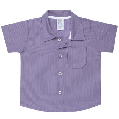 Imagem 1 do produto Camisa para bebe em tricoline Listras - Sylvaz - SZ1127 CAMISA LISTRAS MC ROXO-P
