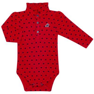 Imagem 1 do produto Body Polo para bebe com gola frufru em piquet Petit Couer - Missfloor - 03GP0002.311 BODY POLO M/L C/ GOLA FRUFRU - PIQUET-6-9