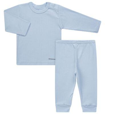 Imagem 1 do produto Pijama longo para bebe canelado Azul - Dedeka - DDK0840/25 Conjunto Canelado Azul-P