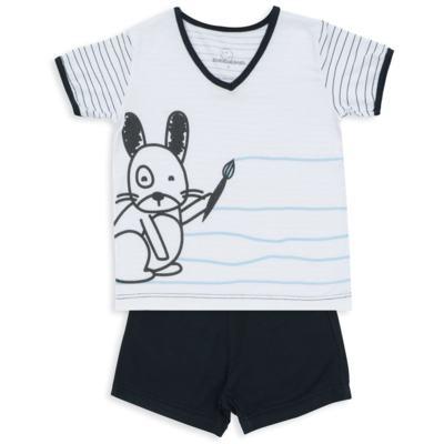 Imagem 1 do produto Pijama curto para bebe em malha Puppy - Dedeka - DDK18118/E215 PIJAMA MODAL/LISTRADO -M