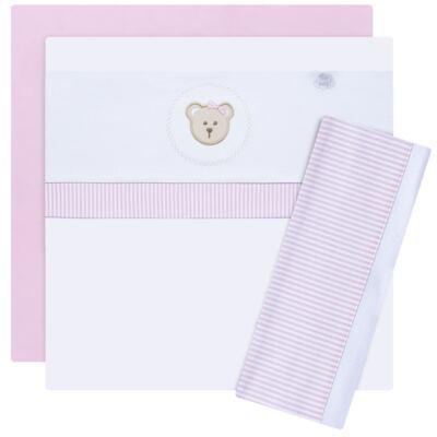 Imagem 1 do produto Jogo de lençol para berço em malha Pink Teddy Bear - Hey Baby