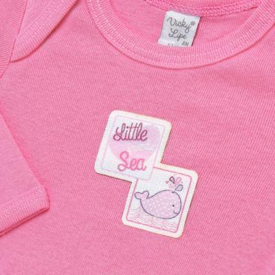 Imagem 5 do produto Pack 2 Bodies longos para bebe em high comfort Cute Whale - Vicky Lipe - 20471334 PACK BODY ML MALHA BALEIA-M