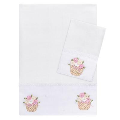 Imagem 1 do produto Kit Amamentação: 1 paninho de ombro + 1 paninho de boca para bebe em fralda Florzinhas - Roana