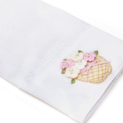 Imagem 2 do produto Kit Amamentação: 1 paninho de ombro + 1 paninho de boca para bebe em fralda Florzinhas - Roana