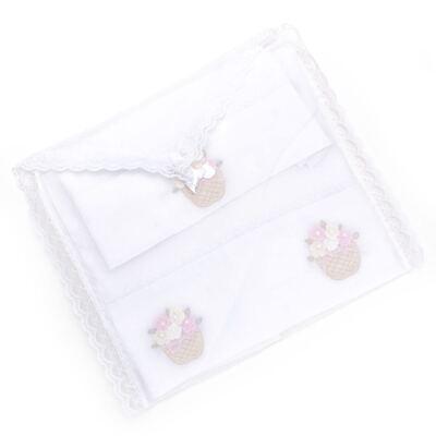 Imagem 3 do produto Kit Amamentação: 1 paninho de ombro + 1 paninho de boca para bebe em fralda Florzinhas - Roana