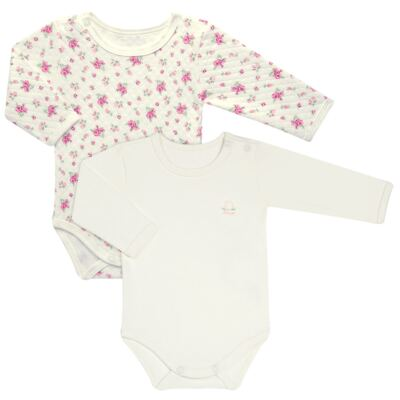 Kit 2 Bodies longos para bebe em suedine Marfim Florale - Grow Up - 09100097.0004 KIT BODIES FLOWERS ML CREME-G