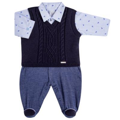 Imagem 2 do produto Jogo Maternidade para bebe: Macacão Camisa, Colete e Manta em tricot David - Beth Bebê