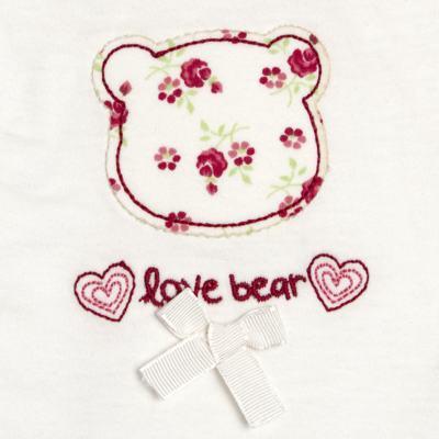 Imagem 3 do produto Macacão babadinhos para bebe em malha Flowery Bear - Vicky Lipe - 20741360 MACACÃO ML C/REC E BABADOS MALHA URSA FLORAL-M