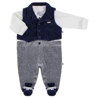 Imagem 1 do produto Macacão longo c/ Colete para bebe em plush Benicio - Beth Bebê - BB8919 Macacão Colete Benicio Azul-P