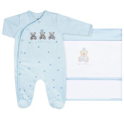 Imagem 1 do produto Jogo Maternidade com Macacão e Manta para bebe em algodão egípcio c/ jato de cerâmica Prince Bear - Mini & Classic