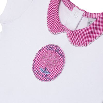 Imagem 2 do produto Macacão curto com golinha para bebe em algodão egípcio c/ jato de cerâmica e filtro solar fps 50 L'Hortensia - Mini & Kids - MCCG1746 MACACÃO M/C C/ GOLA SUEDINE HORTÊNCIAS-GG