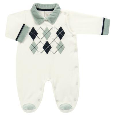 Imagem 1 do produto Macacão longo para bebe em plush Argyle - Anjos Baby - AB171129.006 MACACAO LONGO MASC T12-M