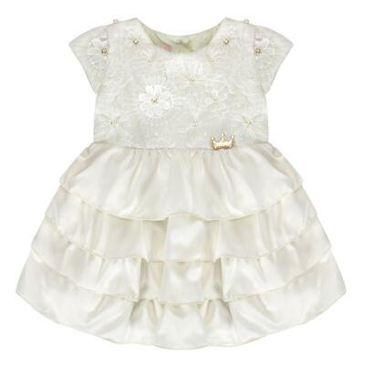 Imagem 1 do produto Vestido para bebe em renda e cetim Valentina - Miss Sweet - SW1037 Vestido Gripper Baby Marfim-M