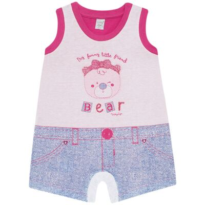 Imagem 1 do produto Macacão regata para bebe em malha Grizzy Bear - Vicky Lipe - 882572 MACAQUINHO REGATA MALHA URSA-GG