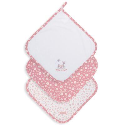 Imagem 1 do produto Kit com 3 fraldinhas de boca para bebe em suedine Florzinhas - Dedeka