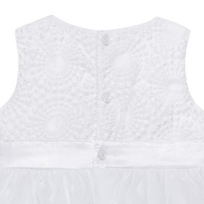Imagem 3 do produto Vestido para bebê em organza Laço Branco - Sylvaz - SZ1064 VESTIDO BATIZADO REGATA LAÇO BRANCO-M