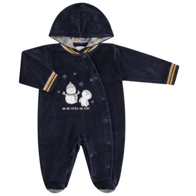 Imagem 1 do produto Macacão longo c/ capuz para bebe em plush Ice Penguim - Anjos Baby - AB171176.040 Macacão Longo Masc plush Marinho -P