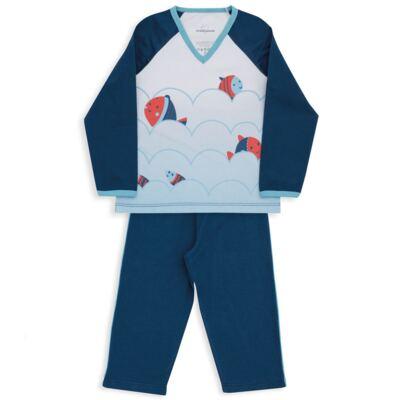 Imagem 2 do produto Pijama longo para bebe em suedine Little Fish - Dedeka - DDK18204/L08 PIJAMA MEIA MARINHO -2