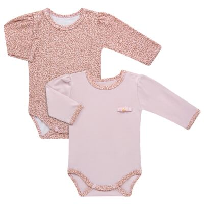 Kit 2 Bodies longos para bebe em suedine Leopard Print - Grow Up - 09100095.0002 KIT 2 BODIES PRINCESS ML ROSA-G