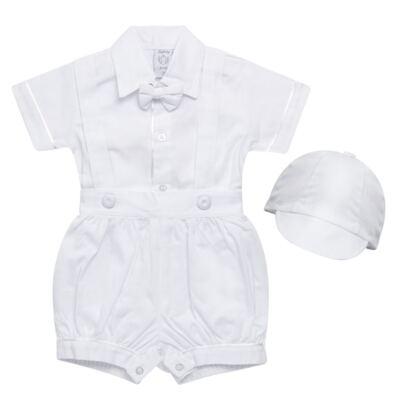 Imagem 1 do produto Jardineira Gravata e Boné para bebe em tricoline Branca - Sylvaz - SZ361 CONJUNTO CURTO C/ GRAVATA BORBOLETA E CHAPÉU BRANCO-M