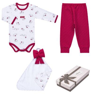Imagem 1 do produto Kit Maternidade para bebe Noblesse: Body longo + Calça (mijão) + Naninha em suedine - Dedeka - DDK16062 Kit Body Longo com Calça e Naninha Noblesse-M