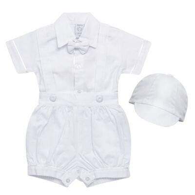 Imagem 1 do produto Jardineira Gravata e Boné para bebe em tricoline Branca - Sylvaz - SZ361 CONJUNTO CURTO C/ GRAVATA BORBOLETA E CHAPÉU BRANCO-G