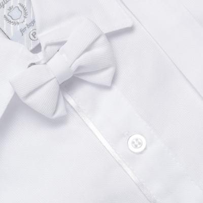 Imagem 2 do produto Jardineira Gravata e Boné para bebe em tricoline Branca - Sylvaz - SZ361 CONJUNTO CURTO C/ GRAVATA BORBOLETA E CHAPÉU BRANCO-G