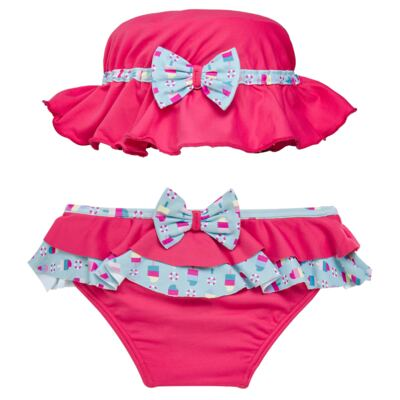 Imagem 1 do produto Conjunto de banho Sweet Candy: Biquini + Chapéu - Dedeka - DDK17433/L17 Calcinha e Chapeu Rosa Pink-G